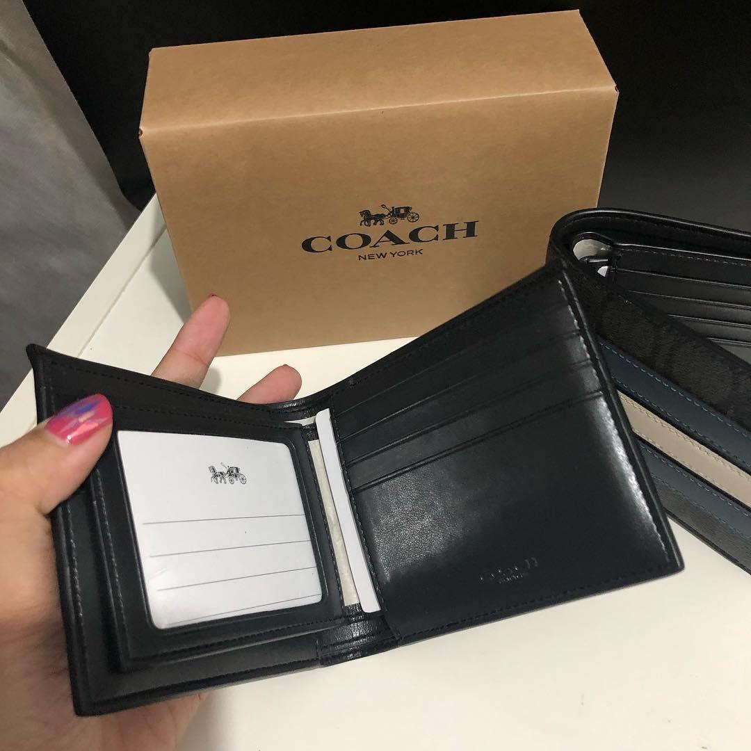 Coach Compact ID Wallet (ada selipan tempat kartu dan foto)