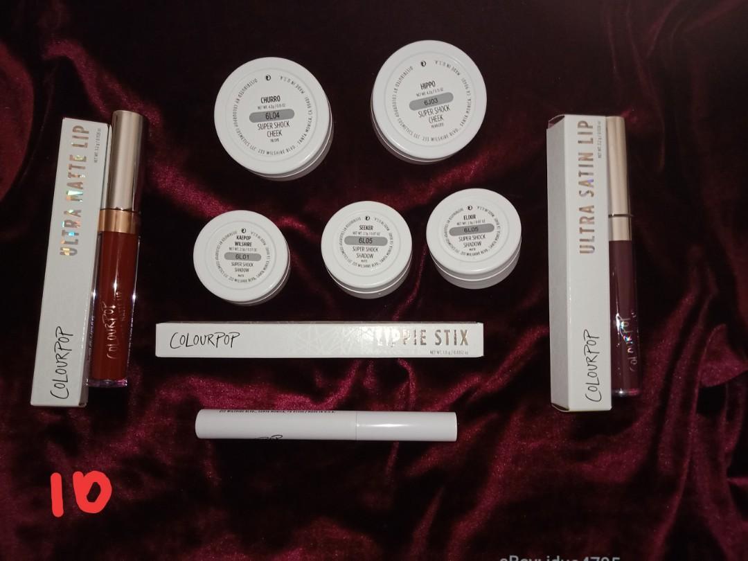 Colourpop Bundle 10:  Colourpop lip primer, rooch, hutch lipsticks shadows- elixir, seeker, kaepop highlights- churro, hippo