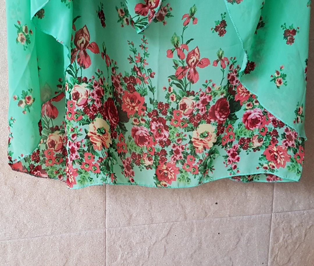 New - Floral Printed Sheer Chiffon Scarf/Shawl #MRTSerangoon
