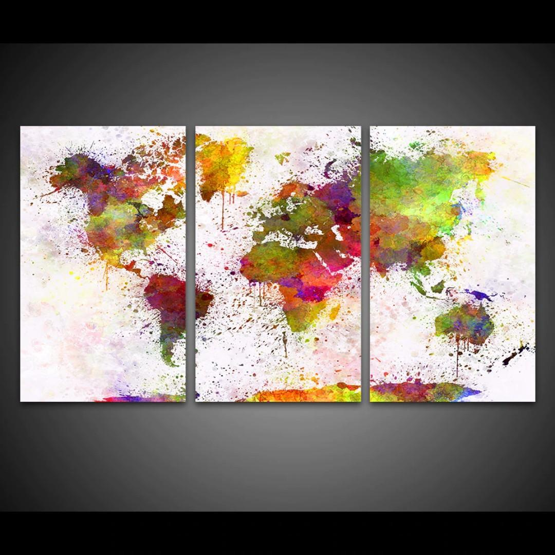 Framed Print Color World Map Painting