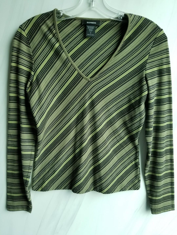 Green Knit Striped Top