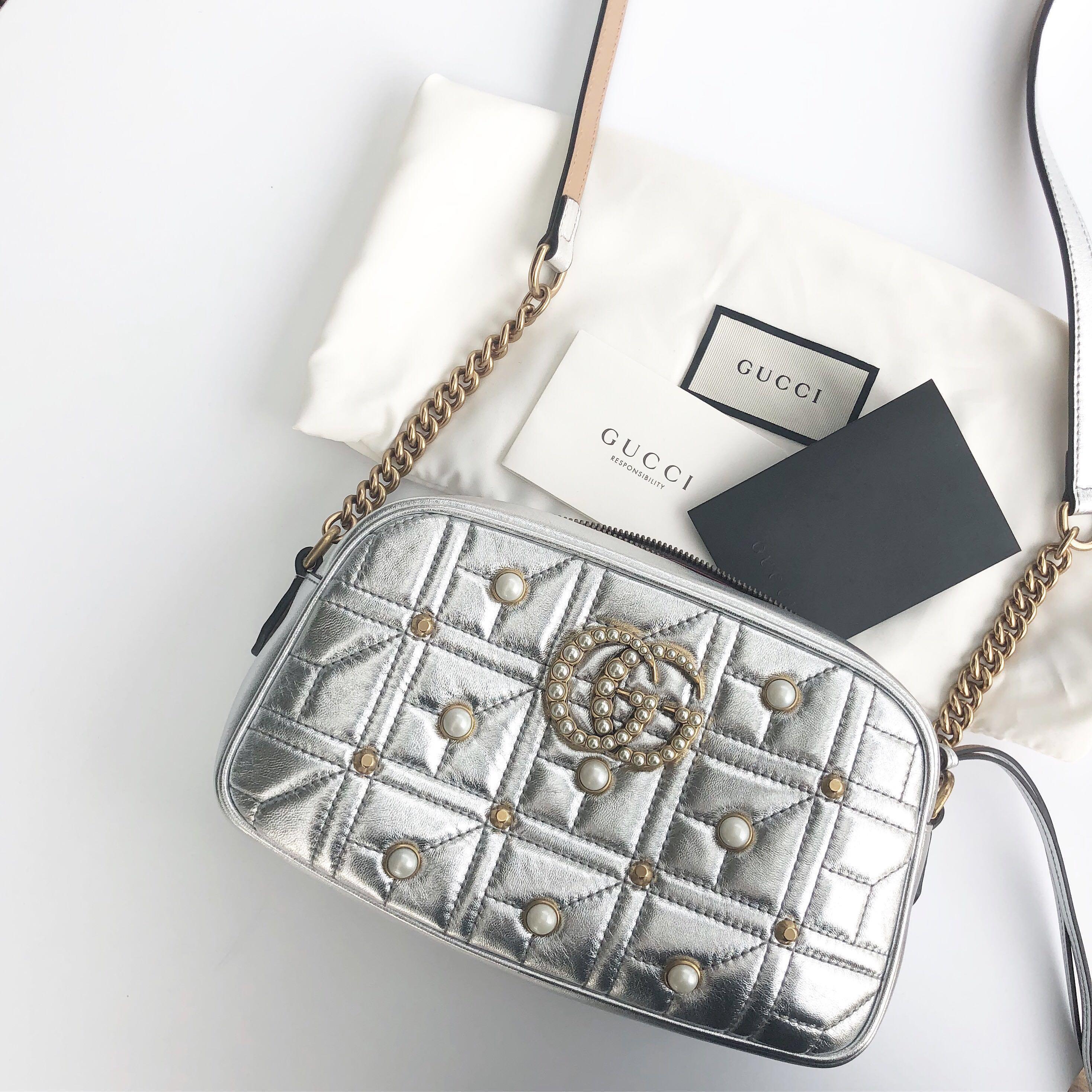 40c769bf8ee Gucci GG Marmont Pearl Matelasse Shoulder Bag Silver Metallic ...
