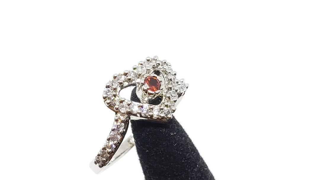 Heart shape 925 ring, Red Tourmaline, handmande ring, gift for her, promise ring, engagement ring