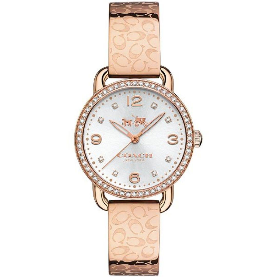 [Instock] Coach Delancey Rose Gold 28mm Crystal Dial Rose Gold Stainless Steel Strap Quartz Women's Bracelet Watch 14502355