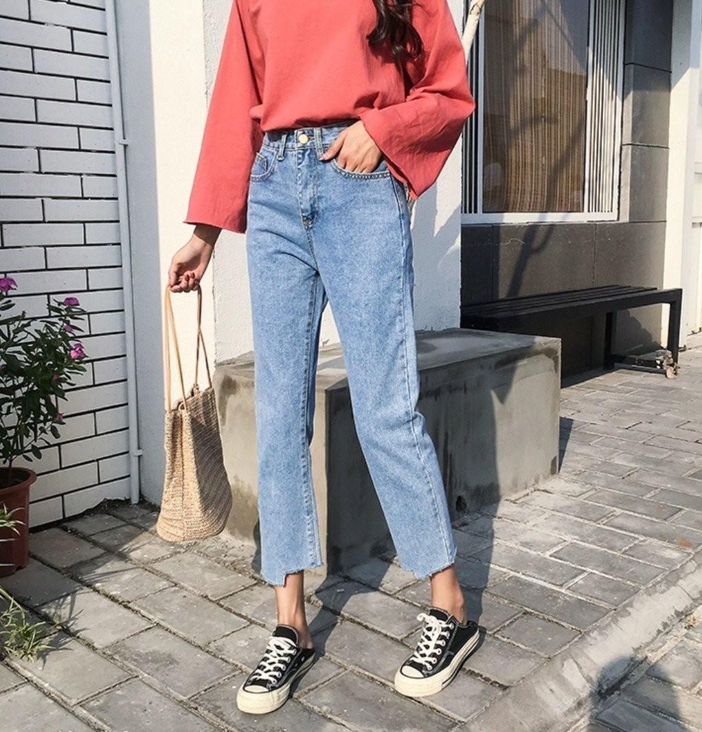 Korean high waisted irregular cut denim jeans : korea brand new