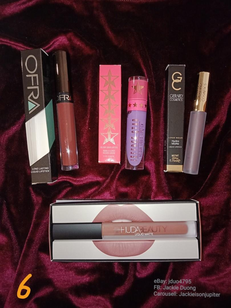 Lipstick Bundle 6:  Ofra 'hypno' Jeffree Star (JSC)'blow pony' Gerard cosmetics 'gravity' Huda 'trendsetter'