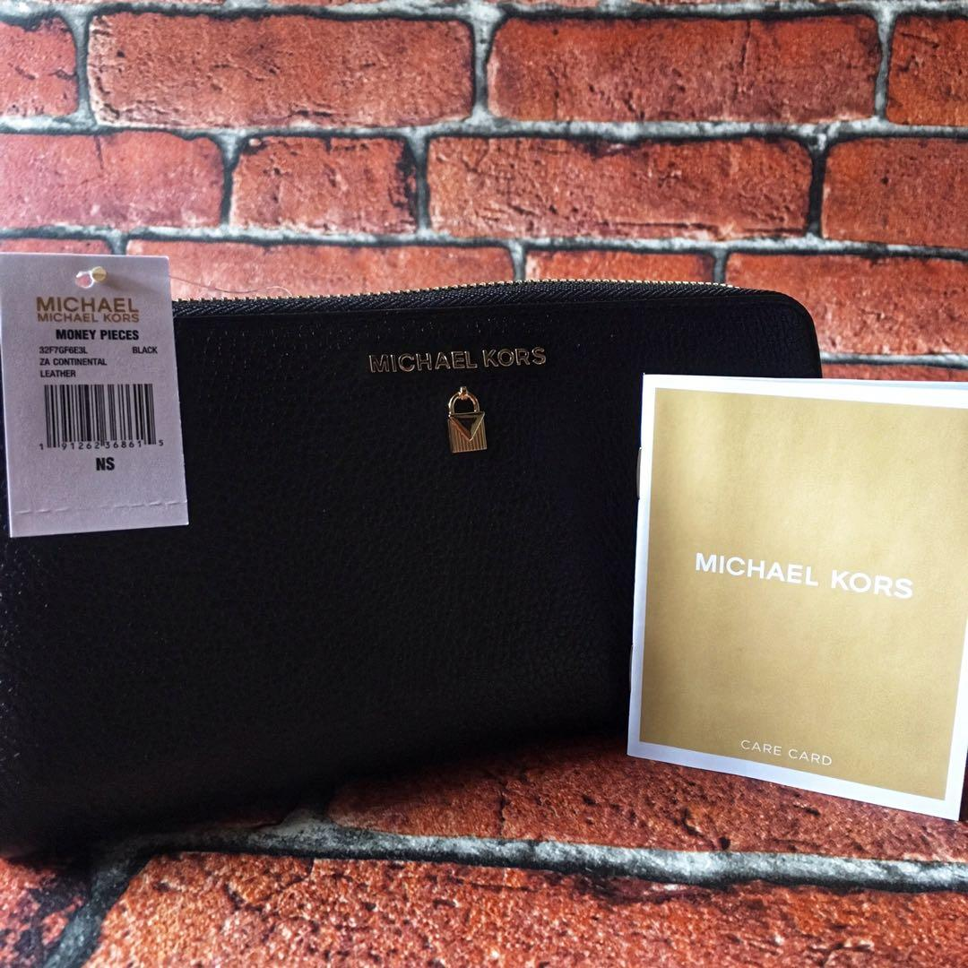 Michael Kors Sutton Leather Continental  Wallet Black - 32F7GF6E3L