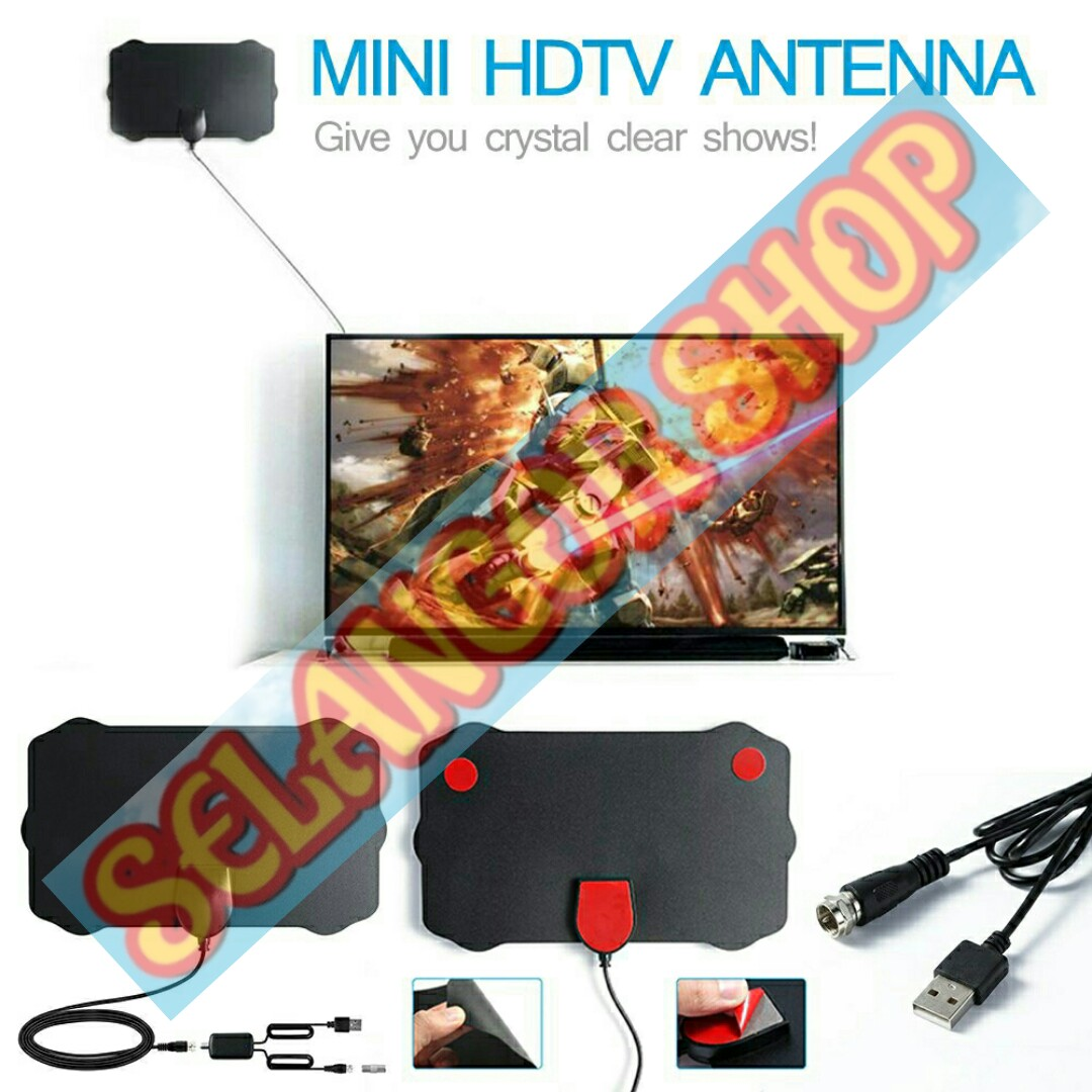 MINI ANTENNA UHF INDOOR DIGITAL ANTENA AERIAL SIARAN TV PERCUMA MYTV  MYFREEVIEW 120 MILES FREEVIEW DVB-T2 WITH AMPLIFIER