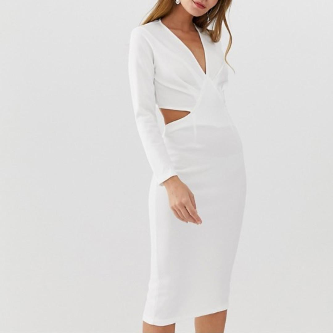 NEW ASOS Bodycon Midi Dress with Cut-Out Back (Size 4 Petite)