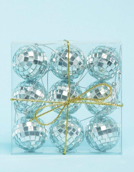 Paperchase 2ft silver tree with 9 baubles