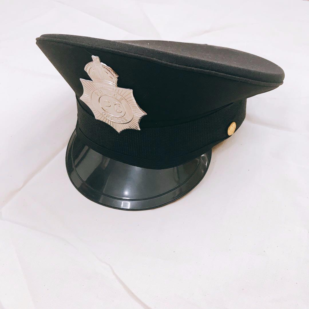 Adults Black Police Panda Cop Hat Chequered Band And Badge