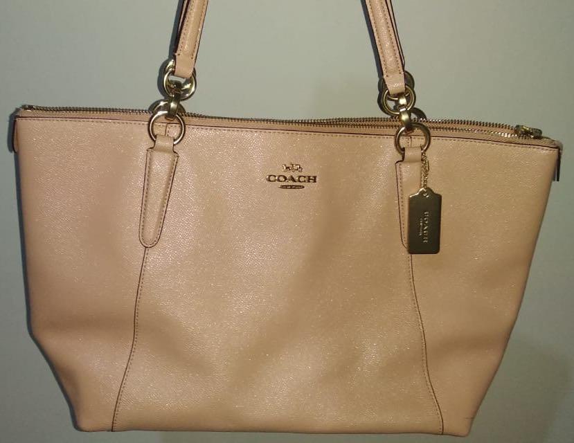 Preloved: Coach Ava Zip Tote Glitter Nude Pink Leather Shoulder Bag