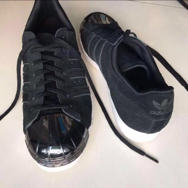 Premium Black Metal Toe Adidas Superstar 80s