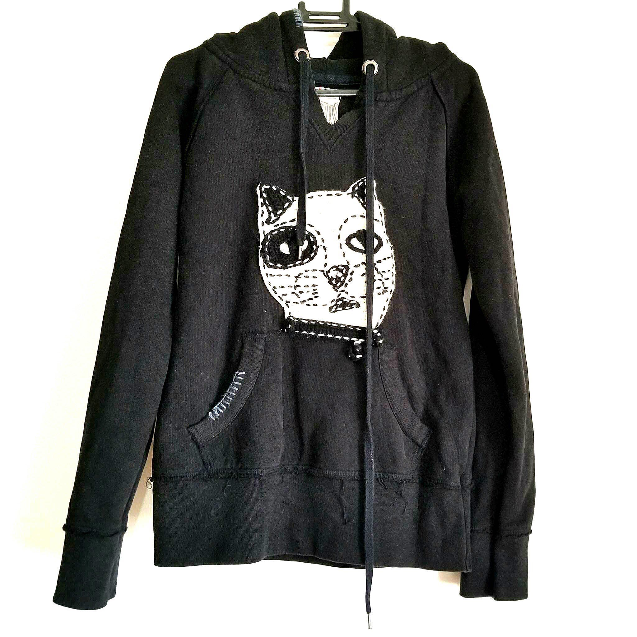 7a3141a0 Repriced-Zara Trafaluc Black Hoodie with Cat Embroidered Design ...