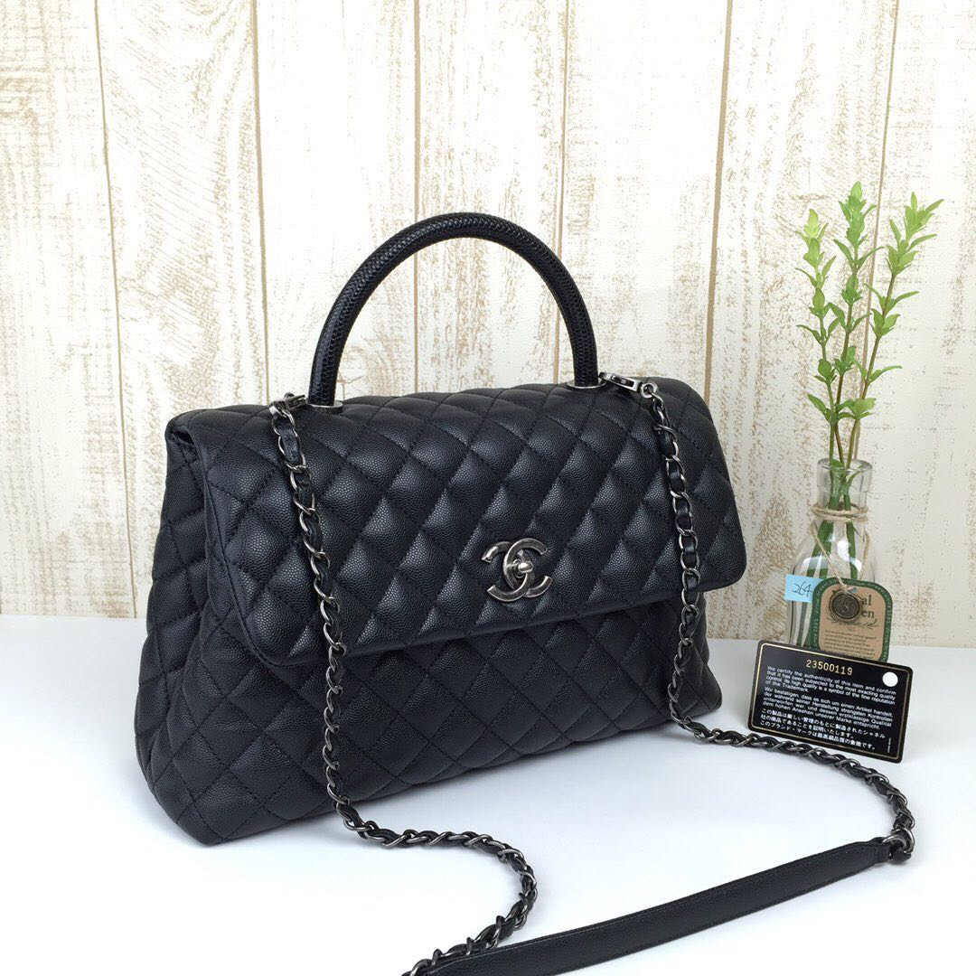 68cd34c8f0321f Reserved* Super Gorgeous Chanel Lizard Skin Handle Coco Handle ...