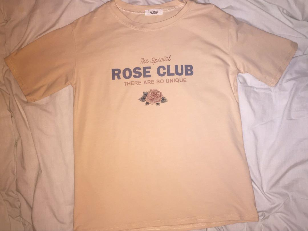 rose club beige oversized tshirt