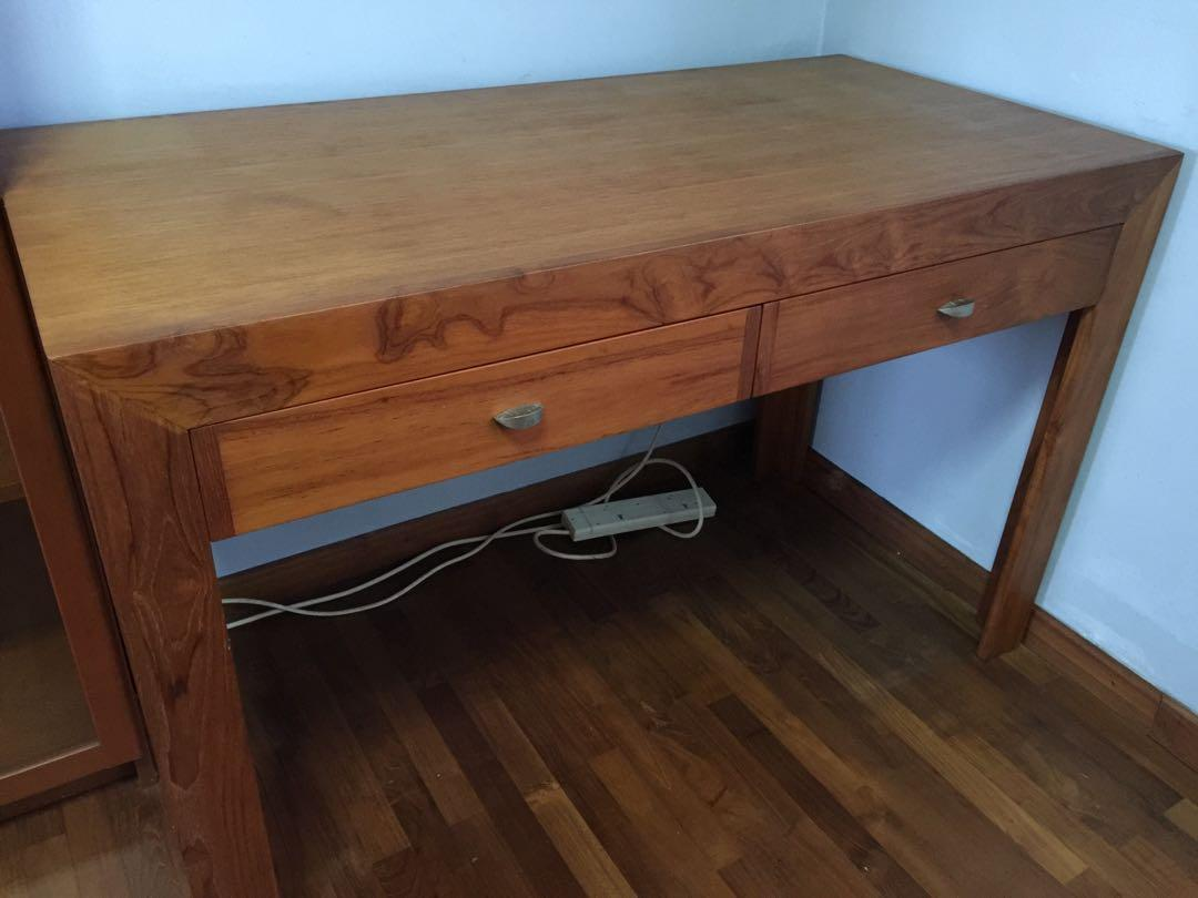 Scanteak Solid Teakwood Writing Table With Two Drawers
