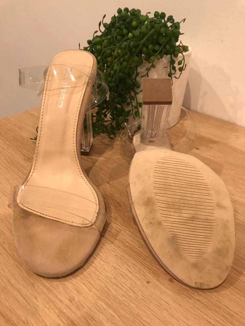 Size 6 - Suedette Clear Block Heels