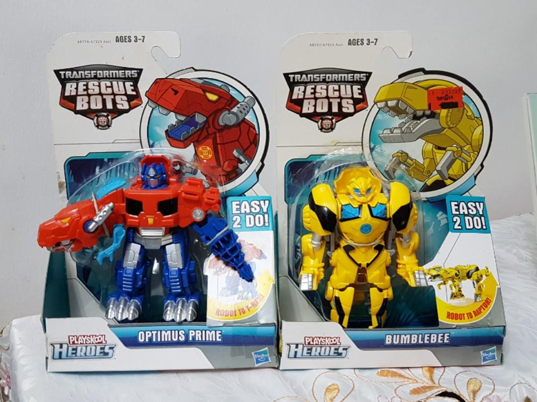 Transformers Rescue Bots Dino Optimus Prime + Bumblebee
