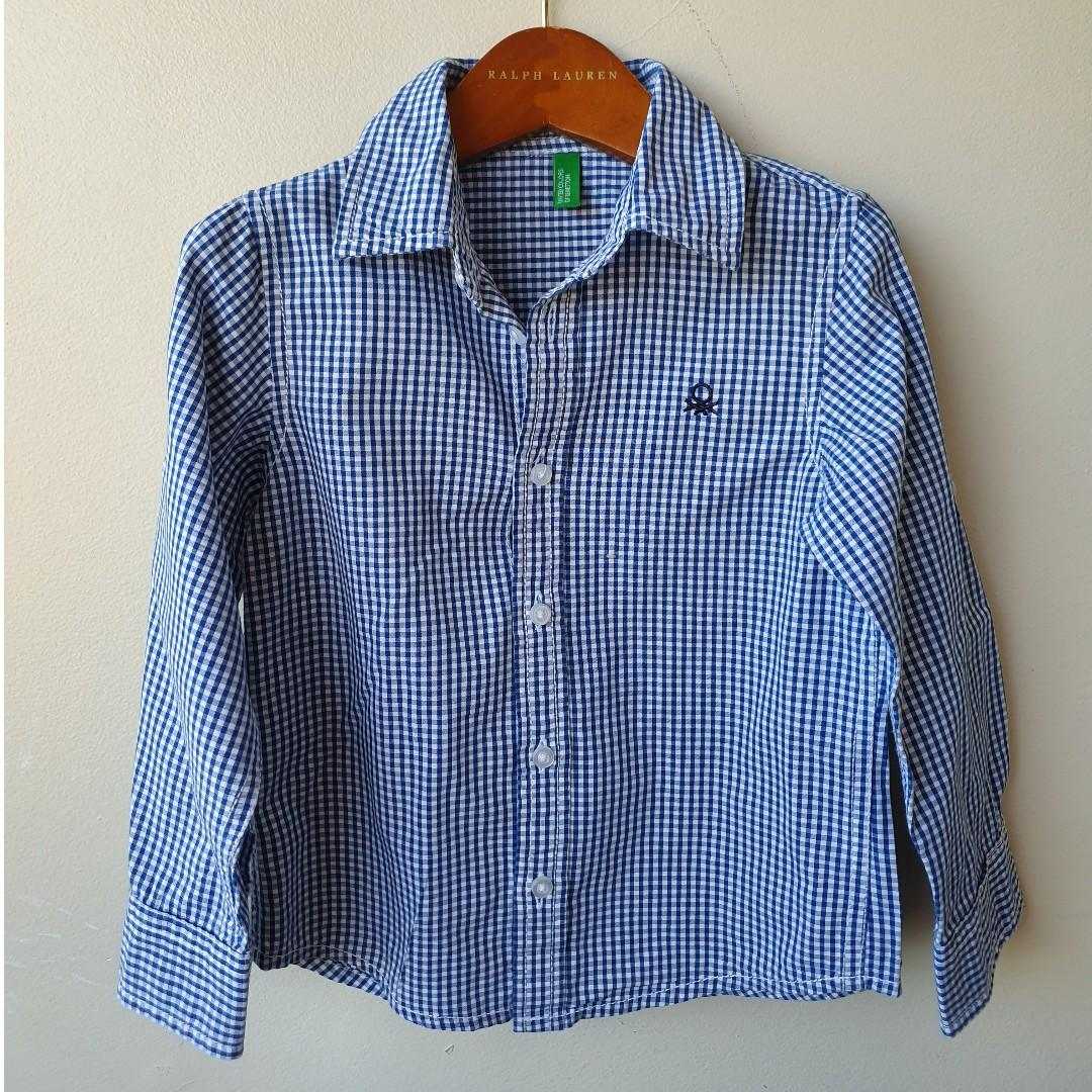 UNITED COLOURS OF BENETTON Boys Collared Gingham Shirt Sz XS fits 4 Years