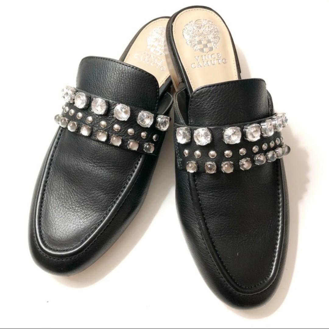 Vince Camuto Black Leather Mules Loafers in Size 5.5