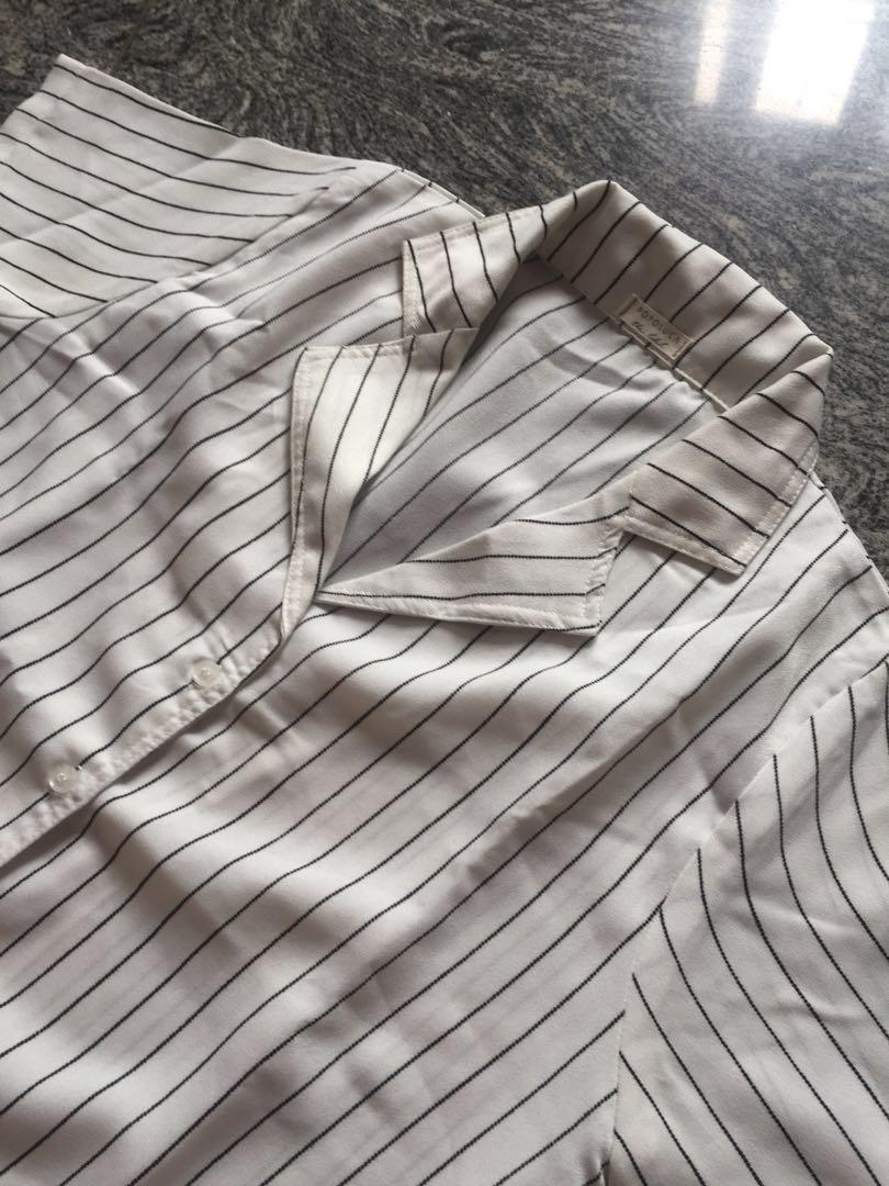White stripes shirt short sleeve