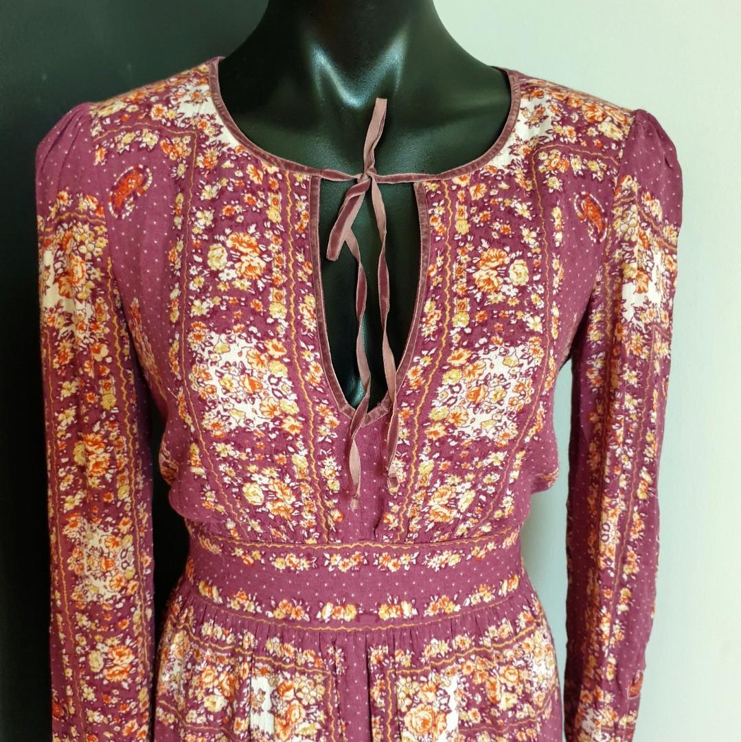 Women's size S 'FREE PEOPLE' Stunning Bridgette mini dress in berry combo RRP $229 - AS NEW