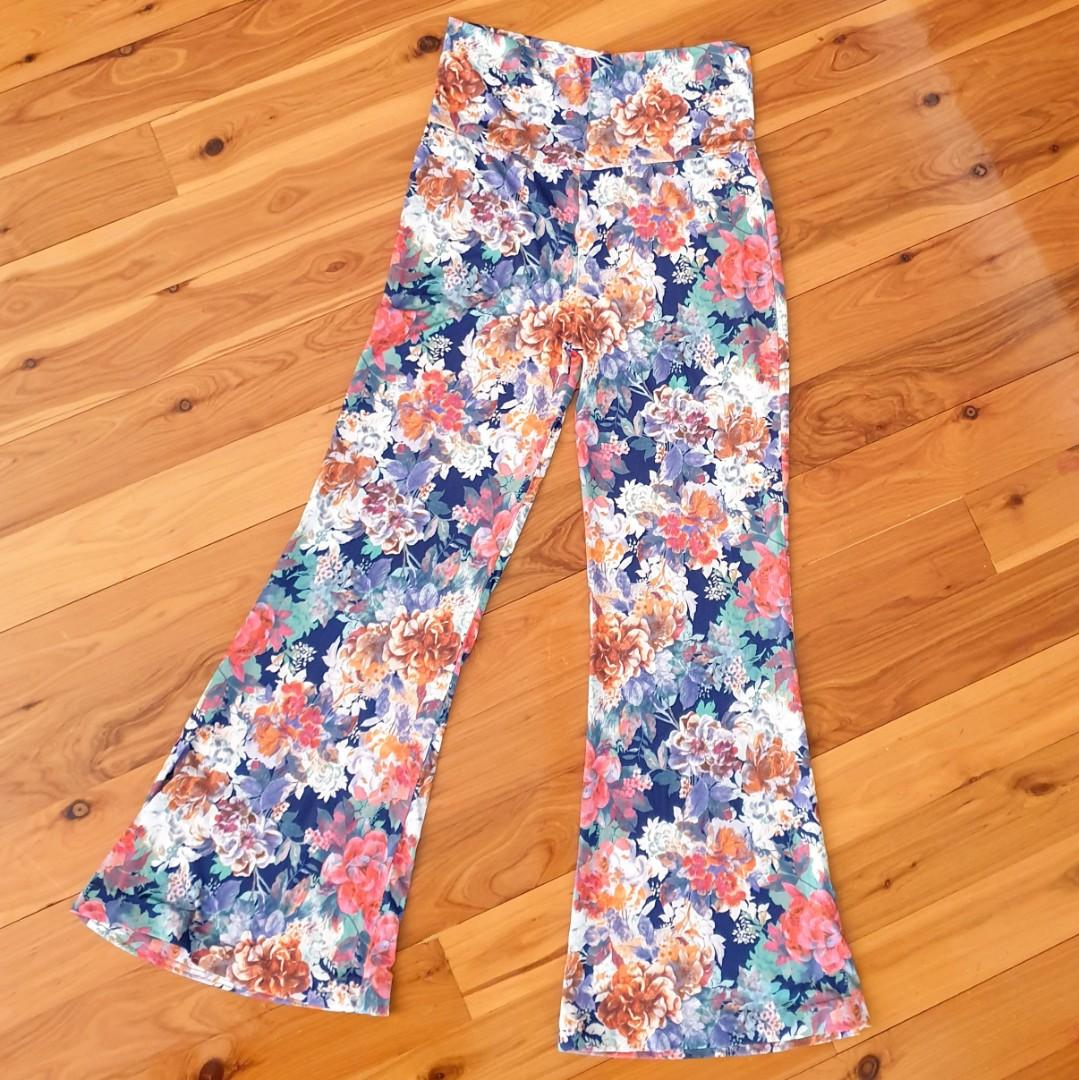 Women's size S 'JIMMY KEY' Gorgeous multicoloured floral wide legged pants - AS NEW
