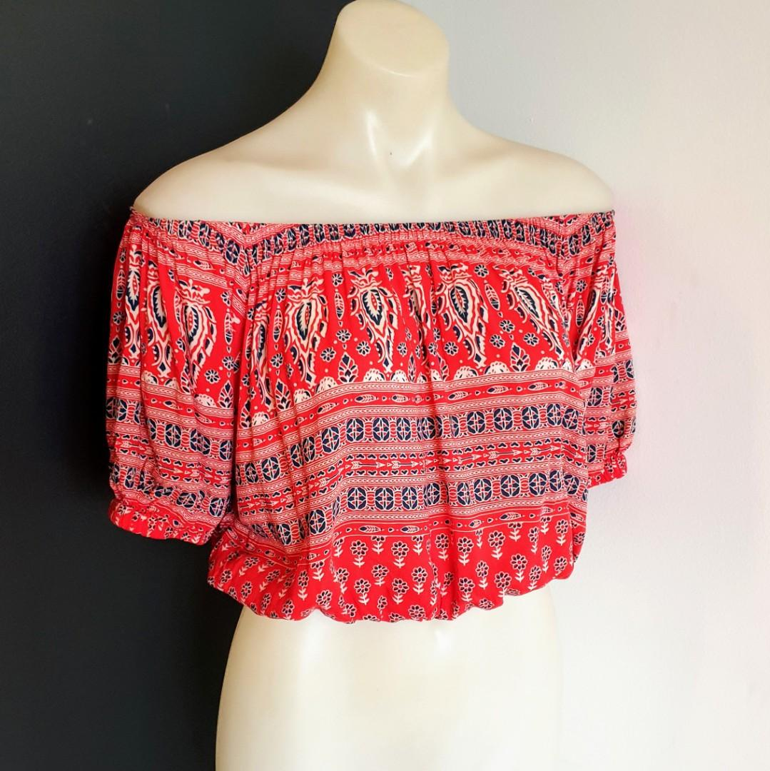 Women's size S 'SPELL' Gorgeous Gypsiana off shoulder in red bandana - AS NEW