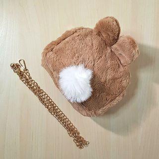 🚚 Brown Furry Bunny Sling Bag