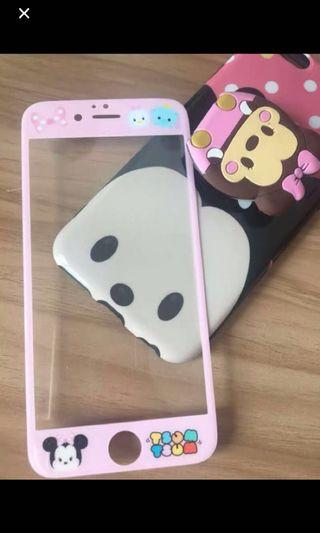 Tsum tsum Minnie 7/8 plus tempered glass & cover