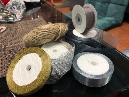 婚後用品 5卷絲帶 + 麻繩1卷