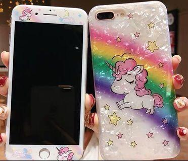 iPhone 7/8 plus unicorn tempered glass with matching cover