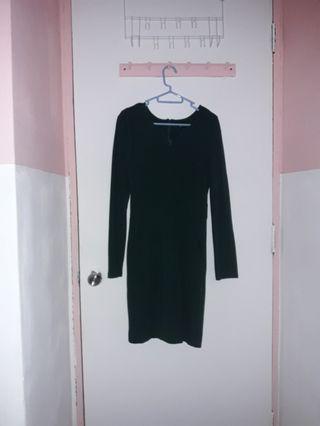 dark emerald green long sleeves dress