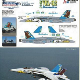 Two Bobs Decal 32 Scale F/A-18C  VFA-82 AFLAC Hornet Brand NEW Decal
