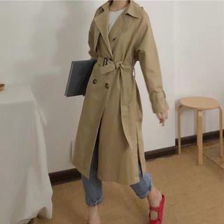 🚚 韓卡其色雙排釦長版風衣外套大衣