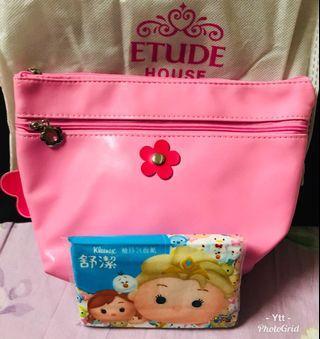 🚚 Etude House 粉紅小花🌹收納化妝包