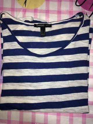 MANGO blue stripe tshirt