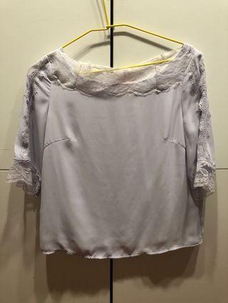 🚚 IENA 氣質粉紫蕾絲上衣