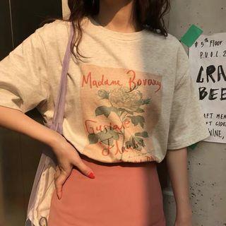 韓百搭溫柔印花短袖t恤 T-shirt tshirt
