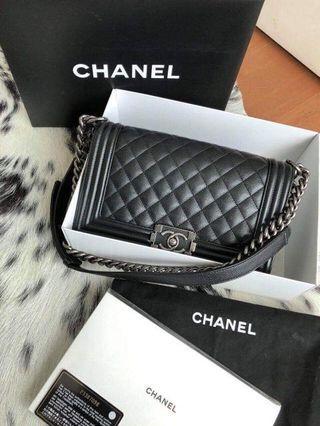 Authentic Chanel Boy Old Medium Caviar