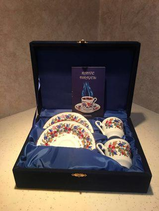 Coffee Expresso Cup and Saucer Set KUTAHYA PORCELAIN HAND MADE Original from Turkey BRAND NEW #OYOHOTEL