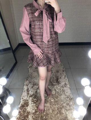 Pink dress ala korea