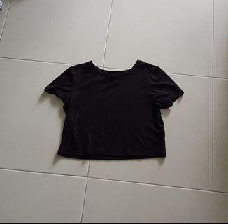 H&M Black Ribbed Crop Top