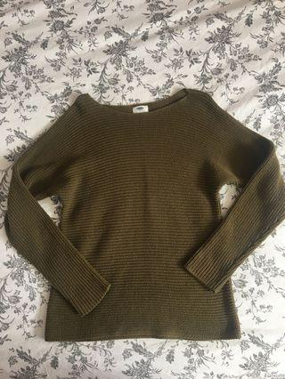 Army green knit sweater