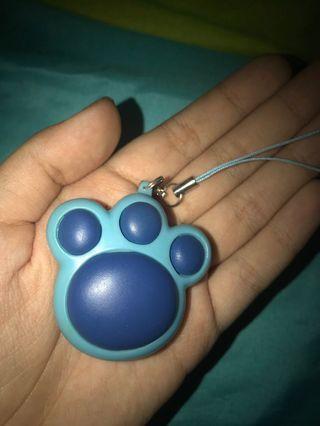 blue paw plush keychain