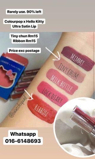 Colourpop x Hello Kitty Ultra Satin Lip (Tiny Chum & Ribbon)