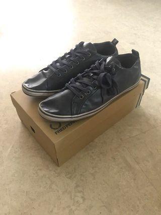 Topman PU Leather Navy Sneakers