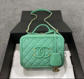 CHANEL CC FILLIGREE VANITY CASE in Caviar Minthe GHW