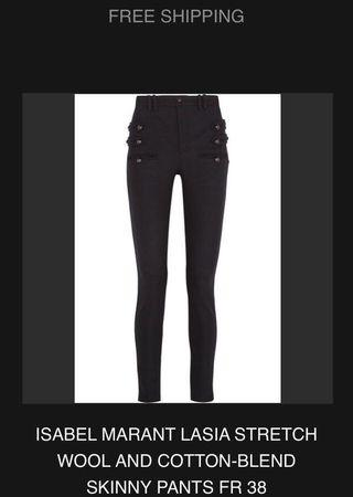 ISABEL MARANT LASIA STRETCH WOOL AND COTTON-BLEND SKINNY PANTS FR 38